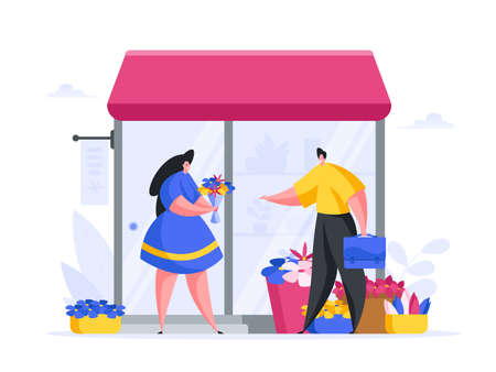 Vector illustration of female florist in blue dress selling bouquet of flowers to man with briefcase passing by after work
