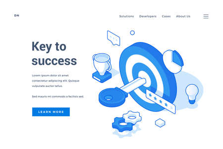 Vector illustration of target with key and success symbols near description and link button on banner of business promotion website. Isometric web banner, landing page template