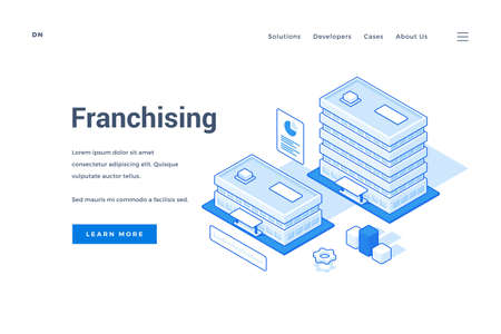 illustration of buildings of company branch offices representing franchising business expansion strategy near description and link button on banner. Isometric web banner, landing page template