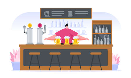 Vector image of flat male character welcoming clients in own pub and serving alcohol and beer isolated on white background