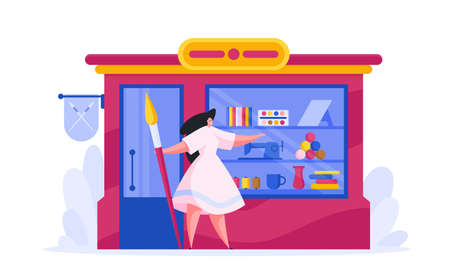 Flat design of vector woman owning modern store selling goods for craft and art standing at entrance on white background