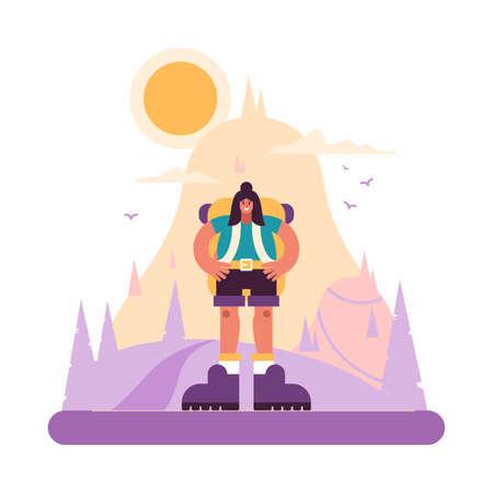 Confident female hiker standing in hilly terrain Ilustração