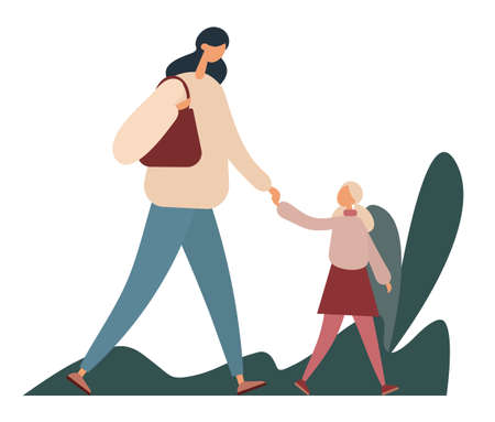 Mother and daughter walking in park. Flat vector illustration