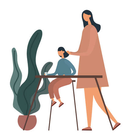 Mother doing hair of daughter. Flat vector illustration