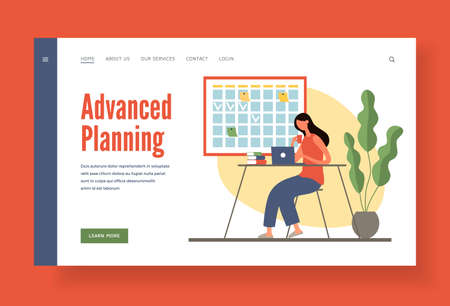 Advanced planning for important business tasks home page template.