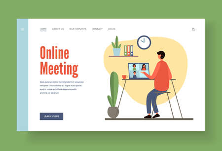 Online conference company employees landing page banner. Female character is meeting with colleagues on web.