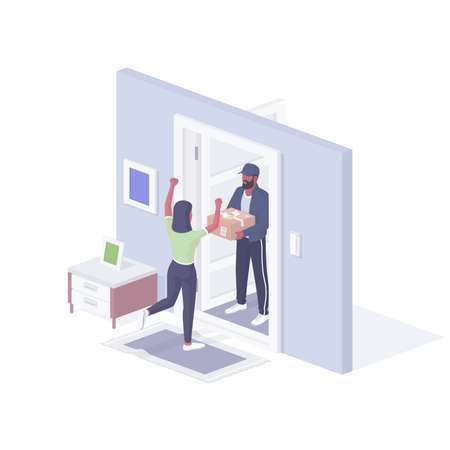 Express home delivery isometric vector illustration. Female character happily greets ordered package.
