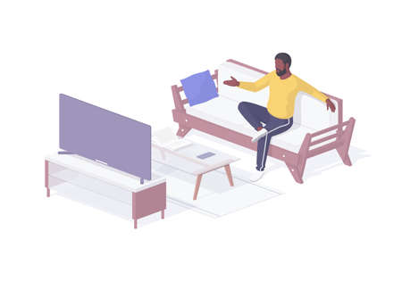 Man at home watching plasma TV isometric illustration. Male character on comfortable sofa immersed favorite show.