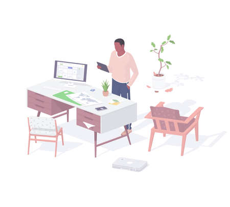 Guy works at home online realistic isometric. Male character in living room communicates with colleagues.