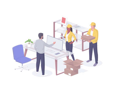 People deliver parcels to office isometry realistic. Male boss character meets in cabinet man and woman in yellow uniform.