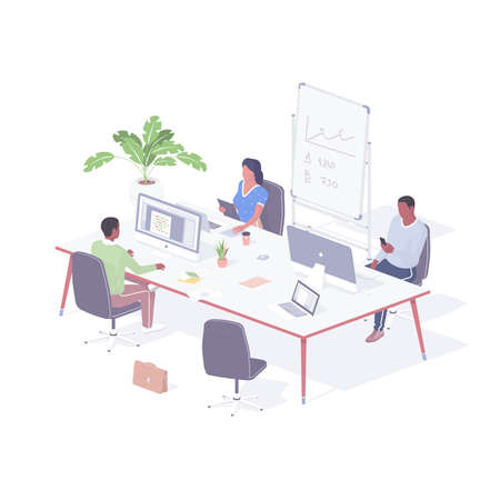 Group office employees working on project realistic isometric. Male characters computer programmers write code.