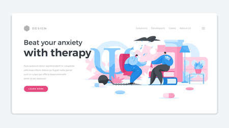 Removing psychological shackles by professional home page template. Male psychologist character listens depressed patient.