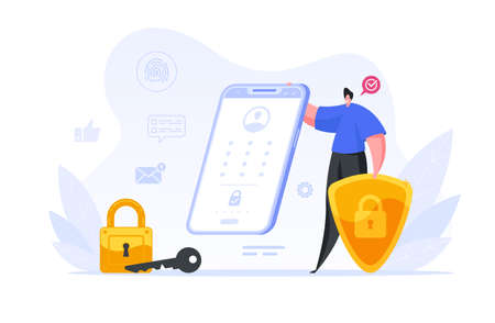 Businessman checking biometric protection of his smartphone illustration