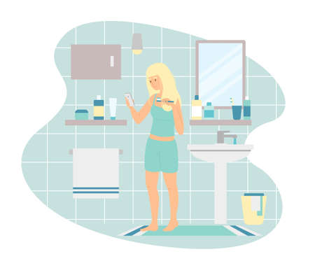 Woman using smartphone while brushing teeth in morning 向量圖像