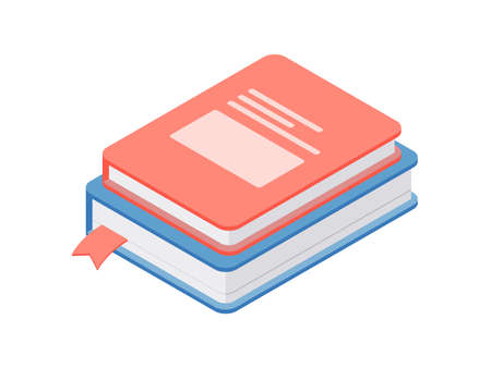 Cartoon design of stacked colorful books on white background Stock Illustratie