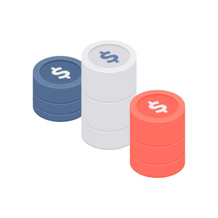 Stacks of colorful coins with dollar signs