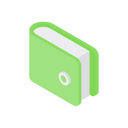 Isolated icon of green notebook on white background Stock Illustratie