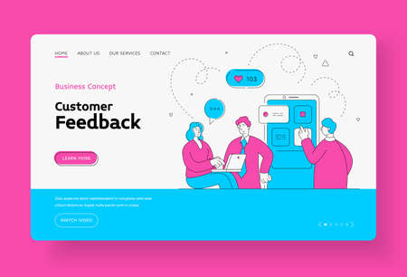 Online support and customer feedback landing page banner. Group characters is conducting web consultation.
