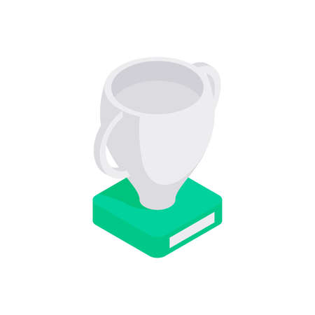 Winner cup isometric icon vector. White trophy winner amphora with two handles on green stand.