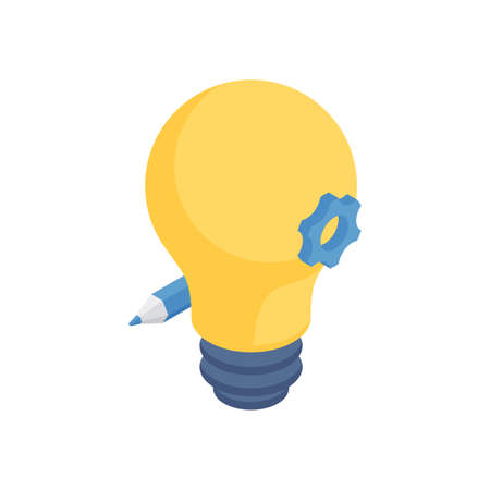 Creative idea development isometric concept. Yellow light bulb with blue pencil and gear. Stock Illustratie