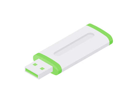 Usb flash drive isometric icon. Digital storage on portable white device with green stripes. 向量圖像