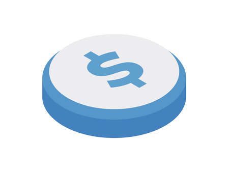 Money symbol button isometric icon. Receiving payment financial deposits and economic investments. Stock Illustratie