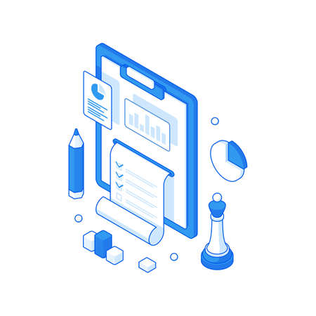 Infographic report and collection online statistics isometric concept. Presentation of technology diagrams and research information.