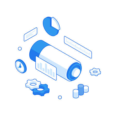 Statistical optimization of charge to work isometric illustration. Motivational charge with marketing analytics and time.