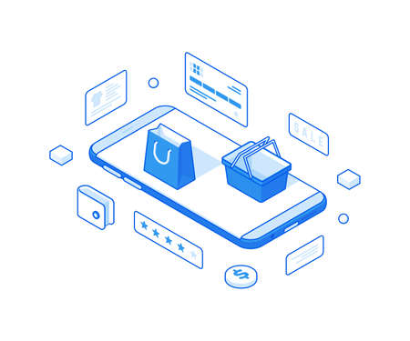 Online shopping and discount sales isometric illustration. Commercial ecommerce advertising discount on web retail goods. Illusztráció