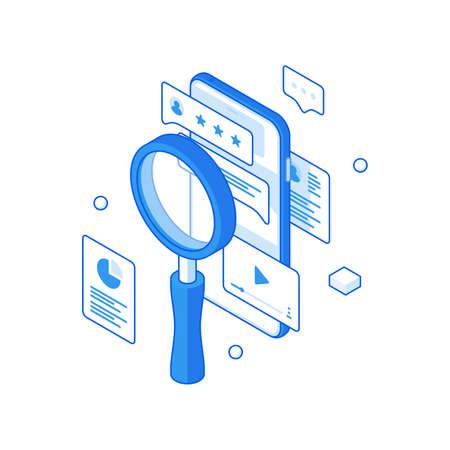 Social web profile ranking analysis isometric illustration. User account marketing research and data retrieval. Illusztráció