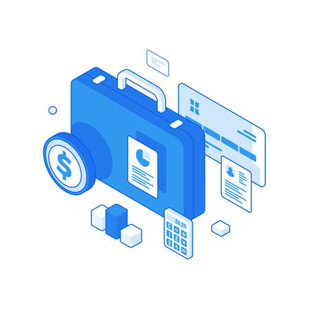 Financial statistics and reliable business savings isometric concept. Economic management and storage of interest bearing deposits.