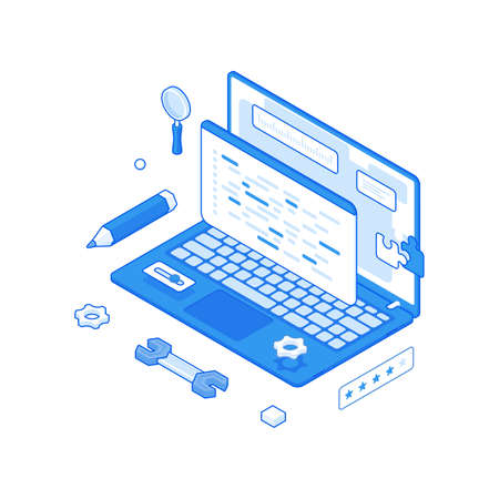 Website optimization and development process isometric concept. Search adjustment and analysis with construction and management. Illusztráció