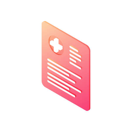 Patient history document isometric vector icon. Red card with medical information of diagnosis and health care notes.