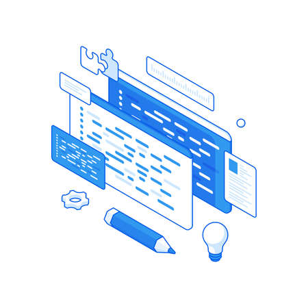 Creative programming and website layout isometric illustration. Coded writing software with testing.