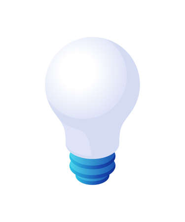 Light bulb isometric vector. White opaque glass bulb with blue stem.