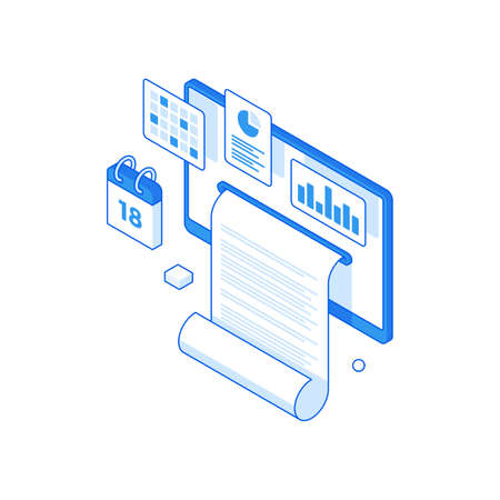 Infographic statistics and collection report online isometric concept. Project delivery time diagrams and research information.