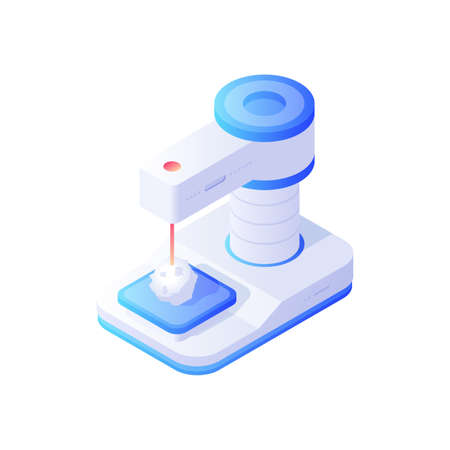 Biochemical electronic analyzer isometric vector. Modern white device with blue analytical details.