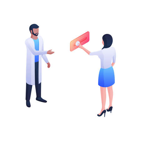 Doctor call for consultation isometric vector concept. Female character presses button on red panel.