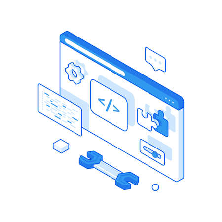 Website programming and debugging isometric illustration. Writing coded software with further testing.