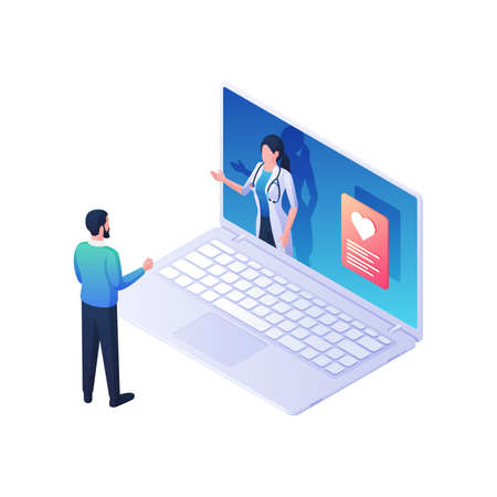 Medical advice online isometric vector illustration. Female character in white coat with laptop screen gives advice. Illusztráció