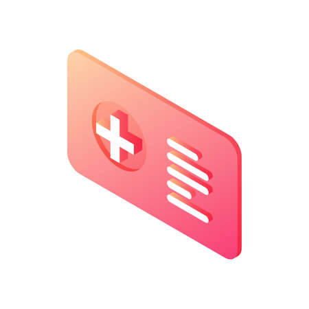 Medical information badge isometric vector icon. Hospital employee red ID with data.