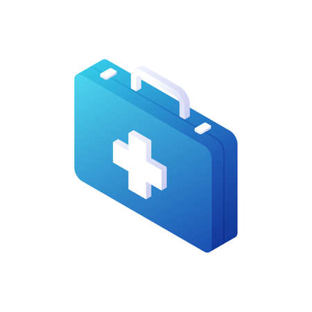 Ambulance medical suitcase isometric vector. Blue box with white handle and cross in center. Illusztráció