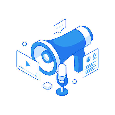 Media advertising and online podcasts isometric illustration. Social announcement new video apps and music recording.