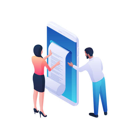 People receiving medical prescription online isometric vector illustration. Male and female characters reading medical document.
