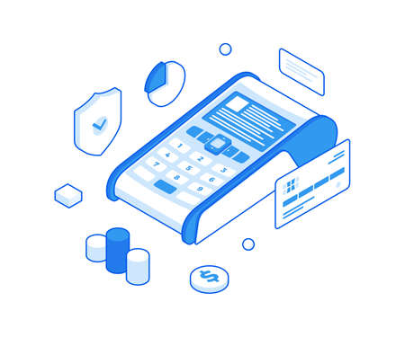Payment in terminal and protection of financial data isometric illustration. Secure withdrawals from credit cards and commercial cash. Illusztráció