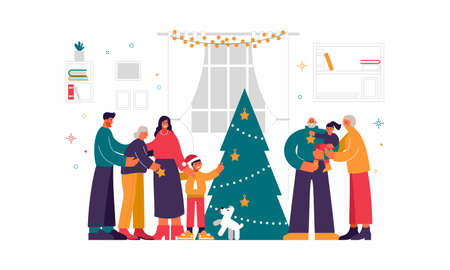 Christmas celebration with close relatives illustration. Smiling elderly parents with grandchildren in their arms.