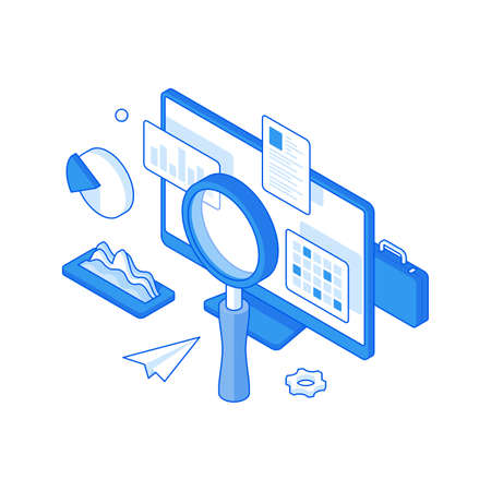 Infographic analytics and statistics optimization isometric illustration. Research website charts and fluctuations of online charts.