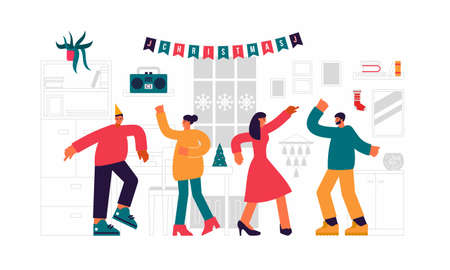 Youth new year party illustration. Happy young people dancing in apartment to holiday music from tape recorder. .