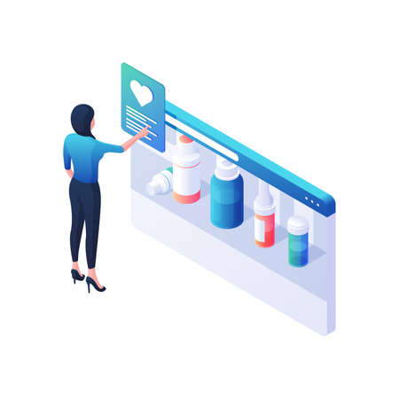 Woman buys online medicines on website isometric vector illustration. Female character places an order in online pharmacy.