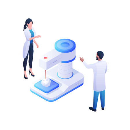 Pharmacists developing new drug isometric illustration. Female and male characters in white coats stand near blue biochemical device. Illusztráció